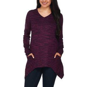 LOGO Lori Goldstein Melange V Neck Pocket Sweater